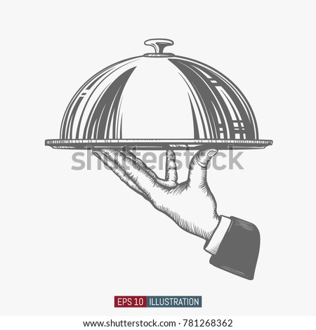 Hand drawn hand holding tray for hot dishes. Engraved style vector illustration. Template for your design works.