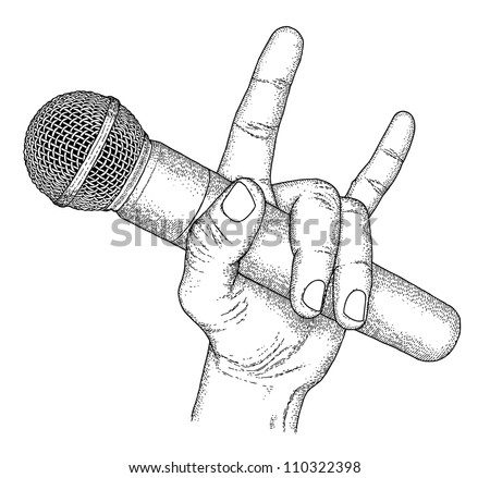 Hand drawn hand with microphone