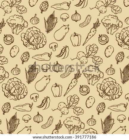 hand drawn handmade dark brown ink outline drawing grocery store vegetables with  old cream paper background #391777186