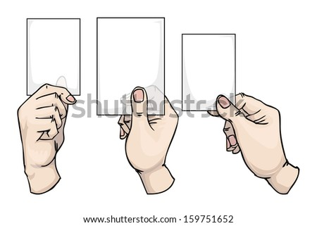 hand drawn hands holding empty cards  different positions, set, vector illustration
