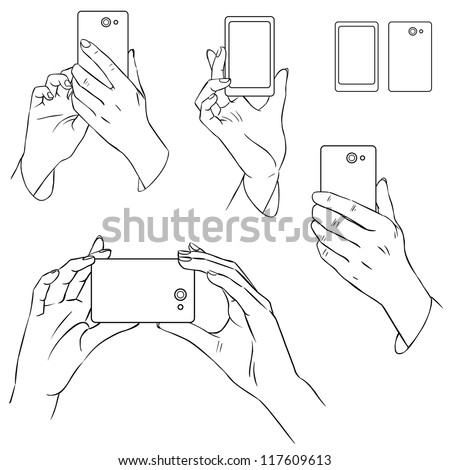 Hand drawn hands with mobile phone