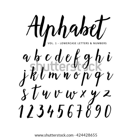 Hand drawn, handwritten vector alphabet. Brush font, script. Isolated letters written with marker, ink. Calligraphy, lettering.