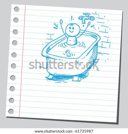 Hand drawn happy boy taking a bath