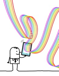 Hand drawn Happy Carton man with Connected Tablet and Rainbow lines Around