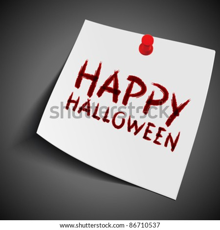 Hand drawn Happy Halloween message lettering on note paper. Vector design element eps 10.