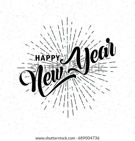 hand drawn Happy New Year  font. Vector illustration