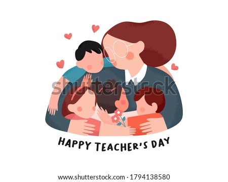 Hand drawn Happy teacher's day poster background concept.Kids student giving hug and flower to her teacher. vector flat illustration creative graphic design