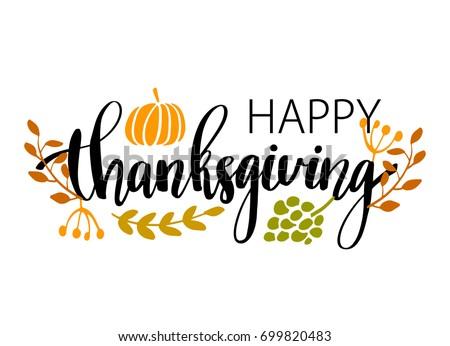 hand drawn happy thanksgiving