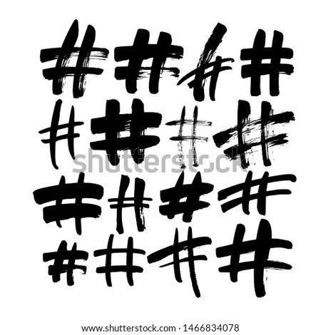 Hand drawn hashtag signs isolated on white background. Trendy grunge communication sign for logo, blog, social network, internet application. Ink vector illustration. Clip art for social media. Stock photo ©