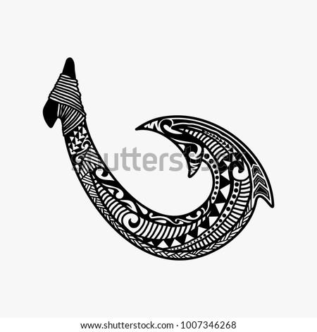 hand drawn hawaiian fish hook