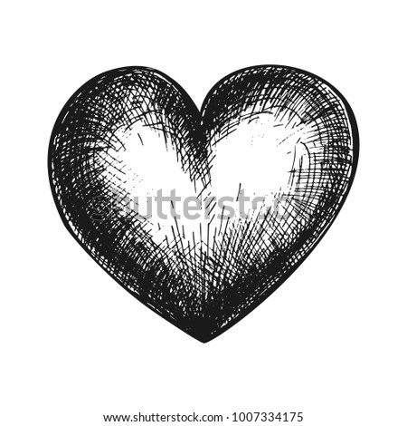 Hand drawn heart, black and white draft sketch isolated on white background. Vintage vector etching illustration.