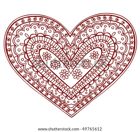 Hand-Drawn Heart Henna (mehndi) Paisley Doodle Vector Illustration Design Element