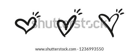 Hand drawn heart, love symbol, calligraphic illustration set
