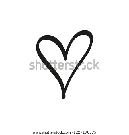 Hand drawn heart, love symbol, expressive shape. Vector illustration