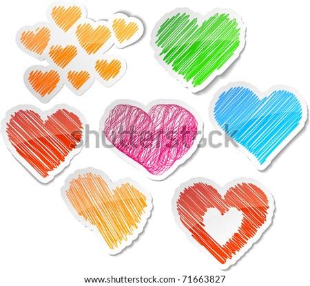 Hand drawn heart set.