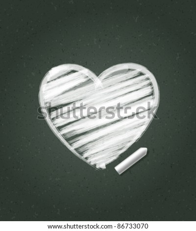 Hand drawn Heart shape on blackboard. Vector background eps 10.