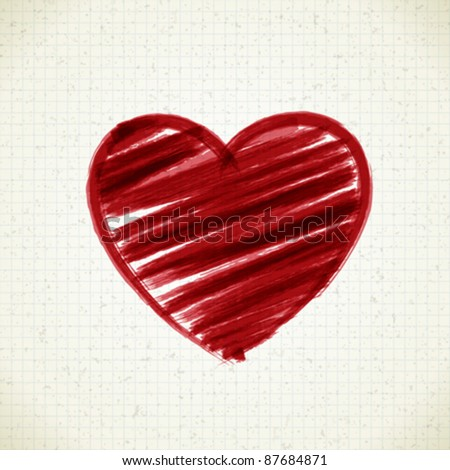 Hand drawn heart shape on paper. Vector design element eps 10.