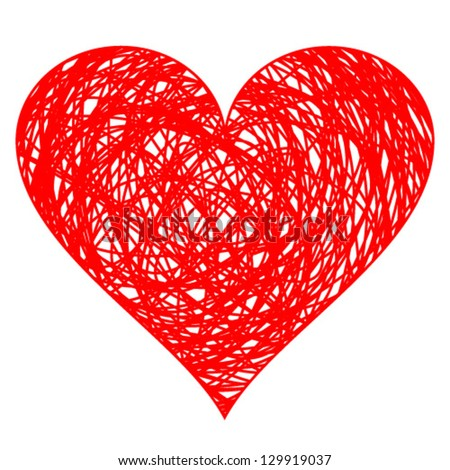 hand drawn heart, vector illustration