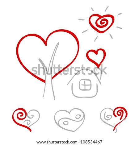 Hand drawn hearts 2 - stock vector