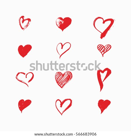hand drawn hearts by vector