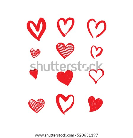 Hand drawn hearts. Design elements for Valentine's day. stock photo