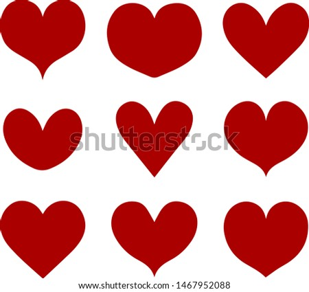 Hand-drawn hearts. .Drawing with a brush in the shape of hearts. Valentine hearth design illustrator element for valentine day,  - Vector