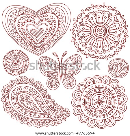 Hand-Drawn Henna (mehndi) Heart,