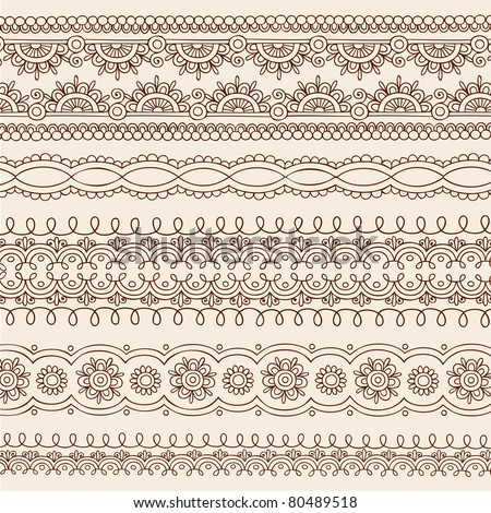 Hand-Drawn Henna Mehndi Tattoo Flower and Paisley Border Doodle Vector Illustration Design Elements #80489518