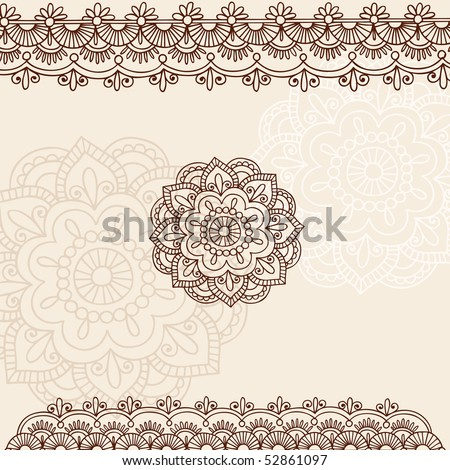 stock vector : Hand-Drawn Henna Mehndi Tattoo Flowers and Paisley Border