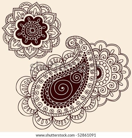 stock vector : Hand-Drawn Henna Mehndi Tattoo Flowers and Paisley Doodle