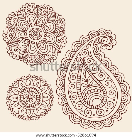 Design Henna Tattoo on Stock Vector   Hand Drawn Henna Mehndi Tattoo Flowers And Paisley