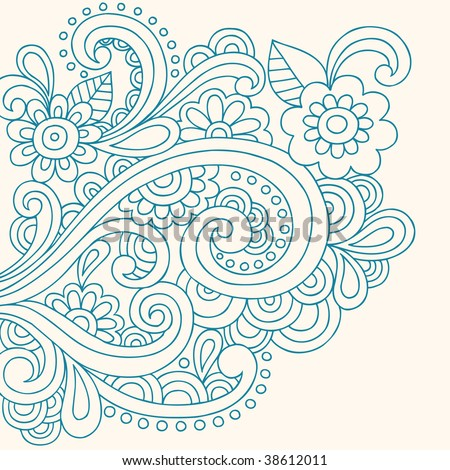 stock vector : Hand-Drawn Henna Paisley and Flowers Abstract Doodle Vector Illustration