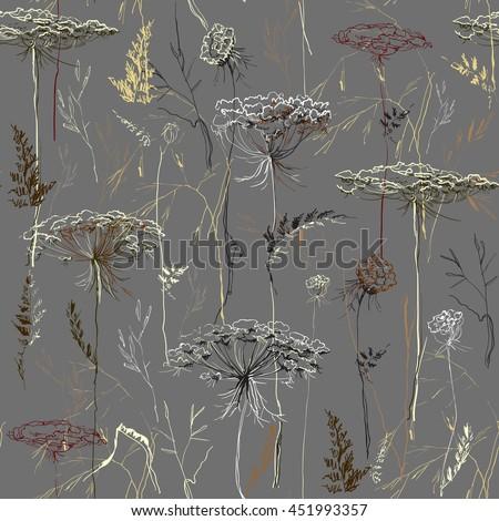 hand drawn herbal seamless