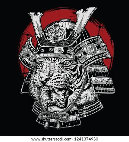 Hand drawn highly detailed Japanese tiger samurai vector illustration on black ground