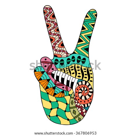 Hand drawn hippie peace symbol for anti stress colouring page. Pattern for coloring book. Made by trace from sketch. Illustration in zentangle style. Colorful variant.