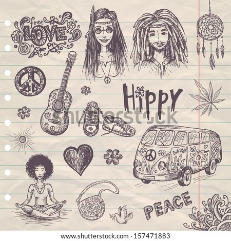 hand drawn hippie set with girl ...