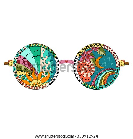 hand drawn hippie sun glasses