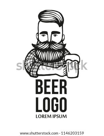 Hand-drawn hipster dude with mustache, beard with beer. Man with glass of alcohol. Vector logo. Stickers, logo, Emblem