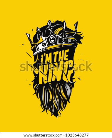 Hand drawn hipster skull with crown, king, t shirt print, vector illustration