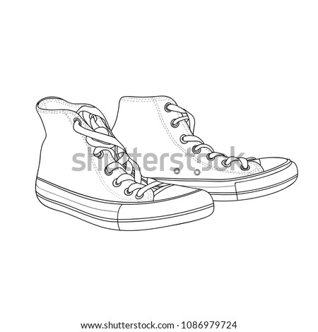 hand drawn hipster sneakers