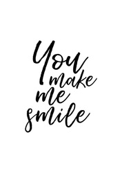 Hand drawn holiday lettering. Ink illustration. Modern brush calligraphy. Isolated on white background. You make me smile.