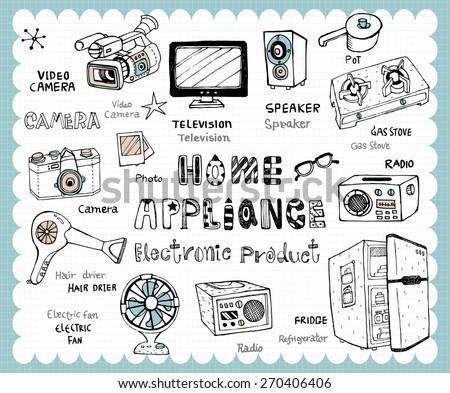 hand drawn home appliance set