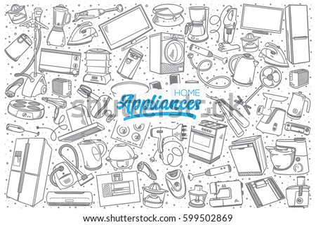 Hand drawn home appliances doodle set background with blue lettering in vector