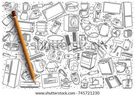 Hand drawn home appliances vector doodle set background