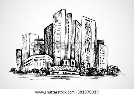 Hand drawn horizontal scene of office buildings