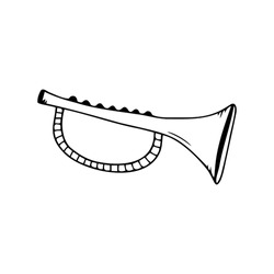 Hand drawn horn, trumpet, musical instruments isolated on a white background. Celebration elements. Doodle, simple outline illustration. It can be used for decoration of textile, paper.