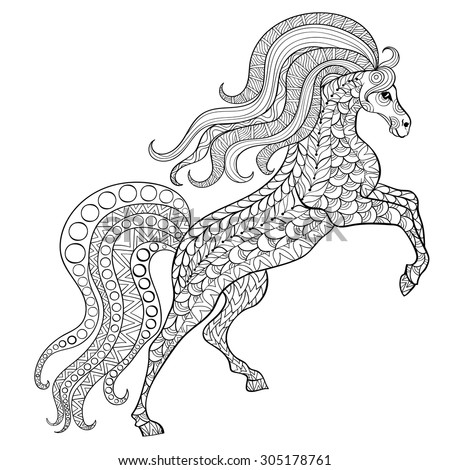 hand drawn horse for antistress