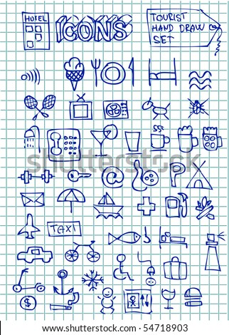 hand drawn hotel icons