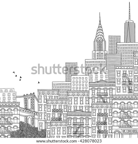 Hand drawn houses of New York City, adult coloring book page, hand drawn ink illustration of New York