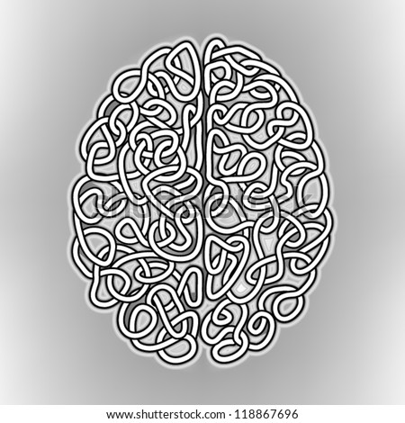 Hand Drawn Human Brain, a thinking human concept, EPS10 Vector background